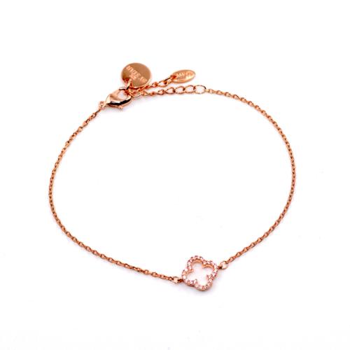 Armkette Kleeblatt klein mit Zirkonia Steinen