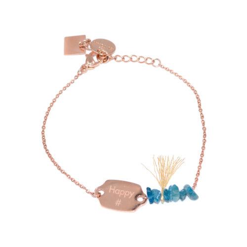 """Armkette Plättchen und Steinen mit Gravur """"Happy #"""" oder """"Lucky #"""""""