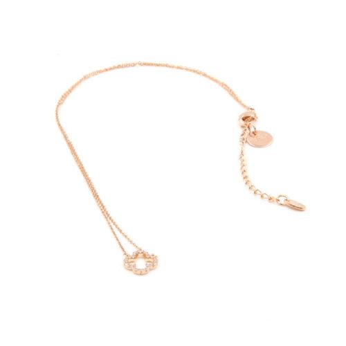 Halskette kurz Kleeblatt  klein mit Zirkonia Steinen