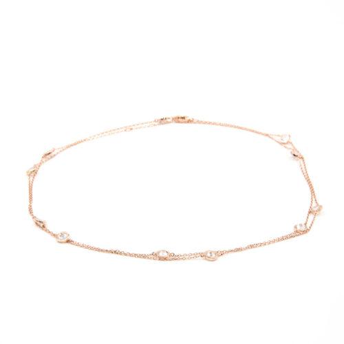 Halskette lang mit gefassten Kristallen<br />