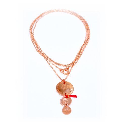 Halskette lang mit 3 Plättchen<br />