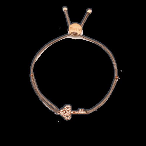 Armband kleiner Schlüssel mit Zirkonia Steinen rosé vergoldet