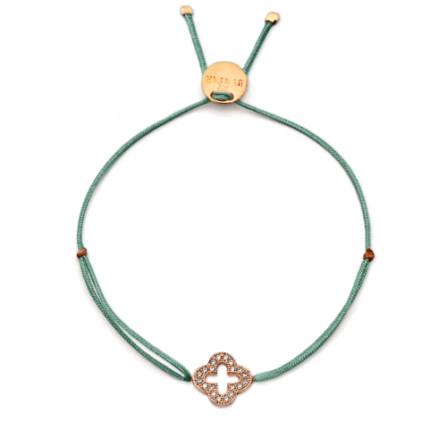 Armband Kleeblatt klein mit Zirkonia Steinen rosé vergoldet