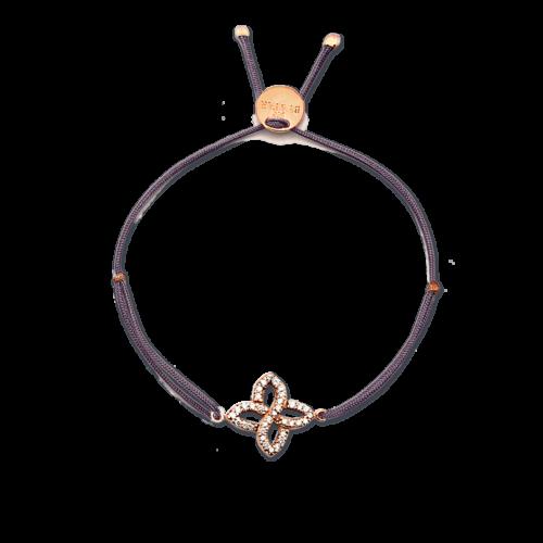 Armband Blume Unendlich mit Zirkonia Steinen rosé vergoldet