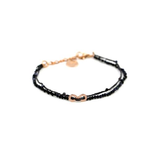 Armkette Blauer Saphir und Häkelband mit Zwischenteil und Steinchen