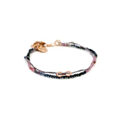Armkette Saphir bunt und Häkelband mit Zwischenteil und Steinchen, hell