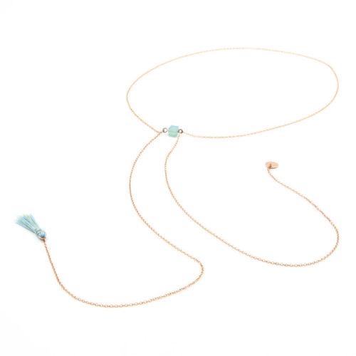 Halskette lang mit Swarovski Würfeln und Quaste