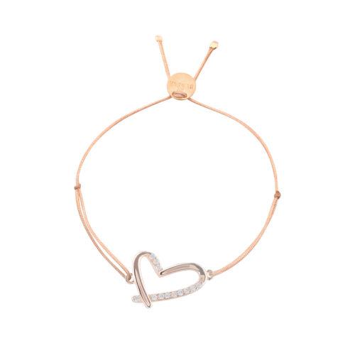 Armband Herz offen mit teilweise Zirkoniasteinchen rosé vergoldet