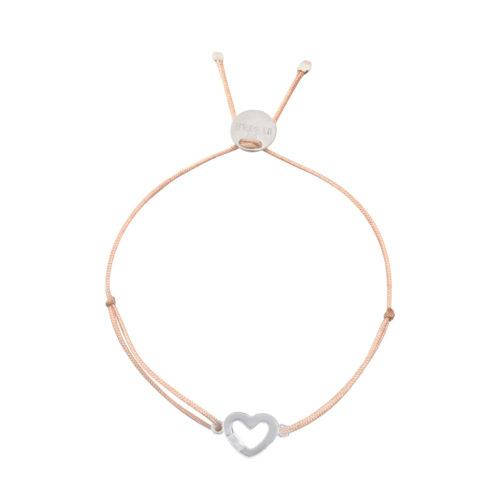 Armband Herzchen offen mit Steinchen Silber