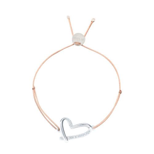 Armband Herz offen mit teilweise Zirkoniasteinchen Silber