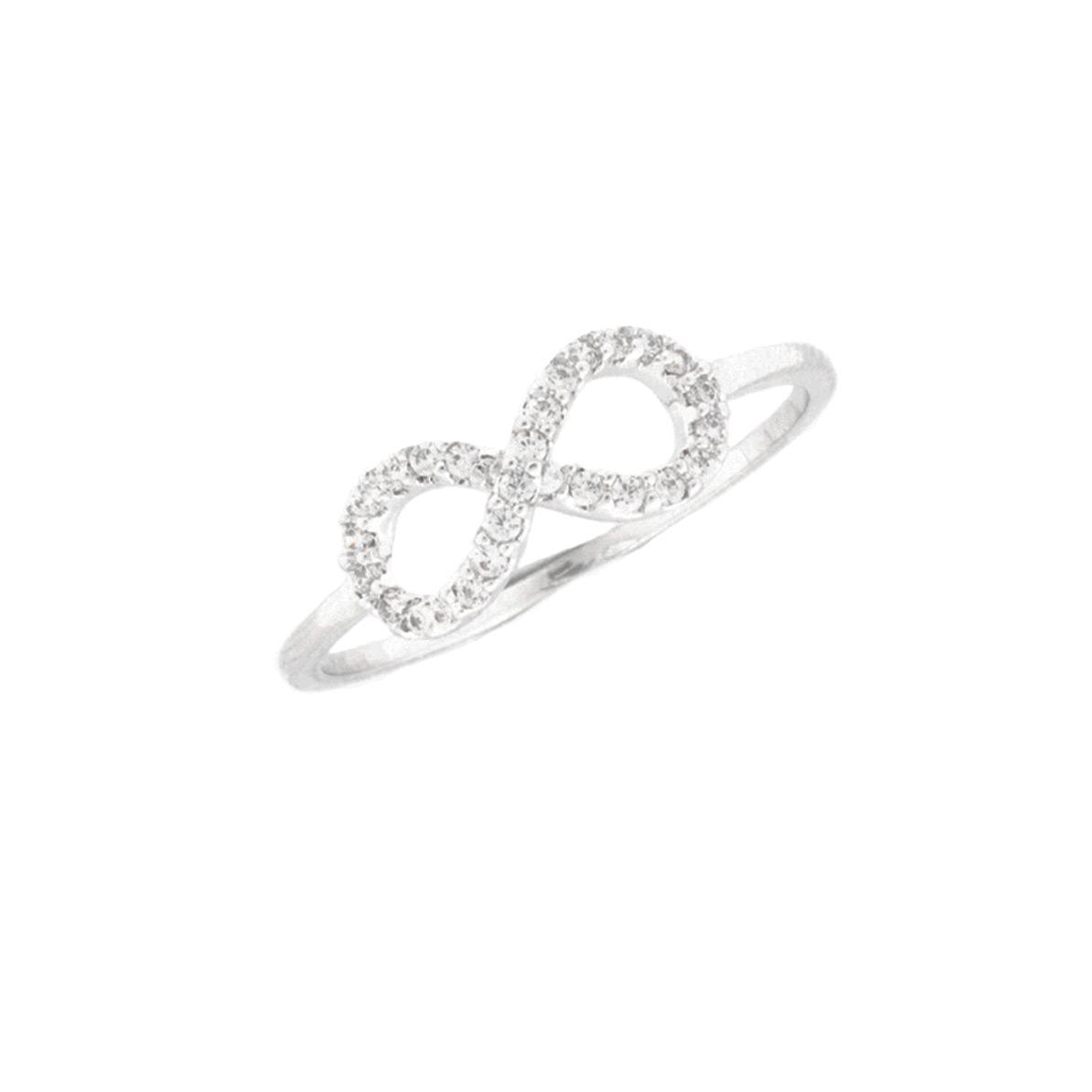 Ring Unendlich mit Zirkonia Steinen Silber