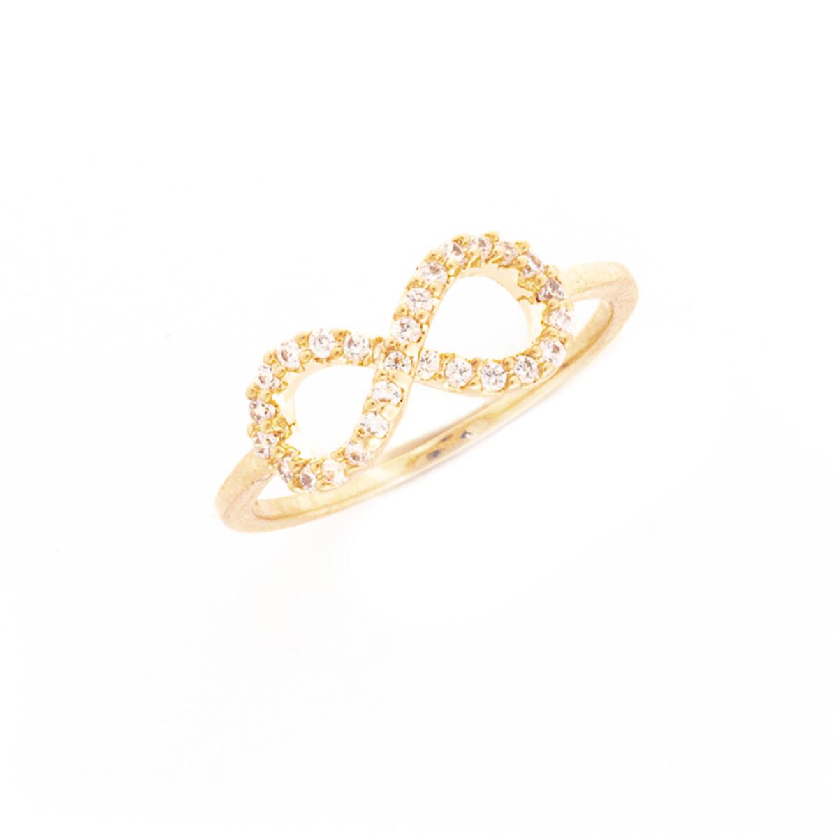 Ring Unendlich mit Zirkonia Steinen rosé vergoldet