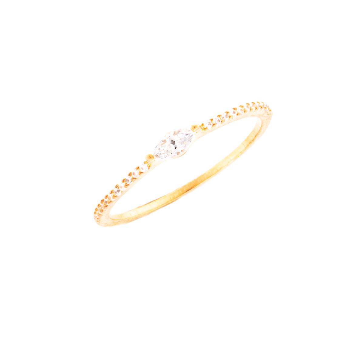 Ring mit gefassten Zirkonia Steinen rosé vergoldet