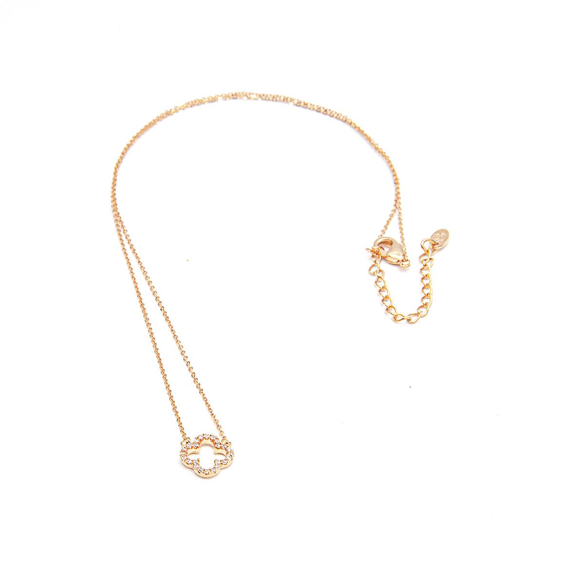 Halskette kurz Kleeblatt klein mit Zirkonia Steinen rosé vergoldet