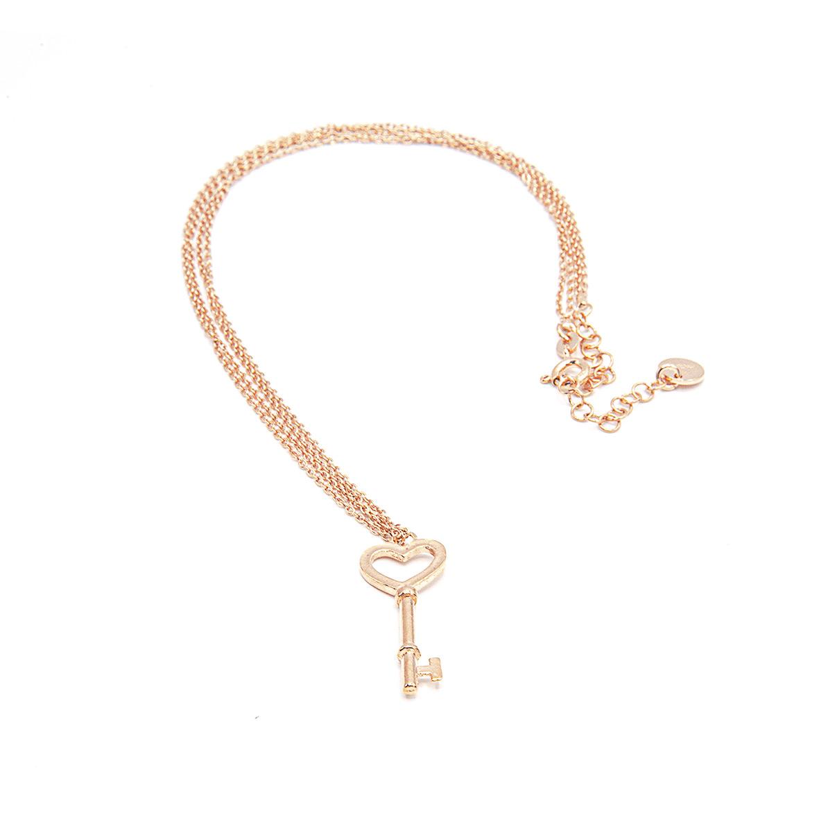 Halskette lang und Schlüssel rosé vergoldet